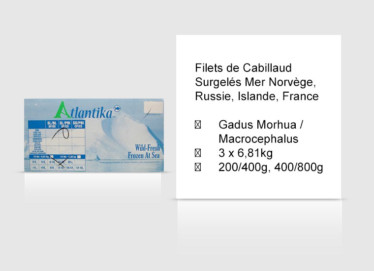 Filets de Cabillaud Surgelés Mer Norvège, Russie, Islande, France
