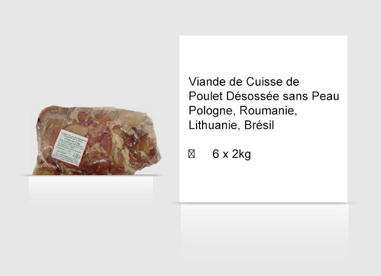 Viande de Cuisse de Poulet Désossée sans Peau